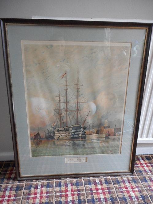 HMS Victory print by W.E Atkins