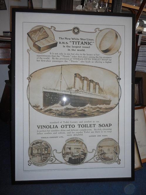 Large Titanic poster framed and glazed