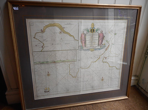 Fowey and Mounts Bay engraved chart - framed