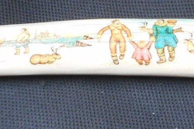 No.234 - Scrimshaw walrus tusk - coloured