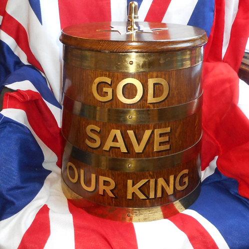 'GOD SAVE OUR KING' Rum barrel