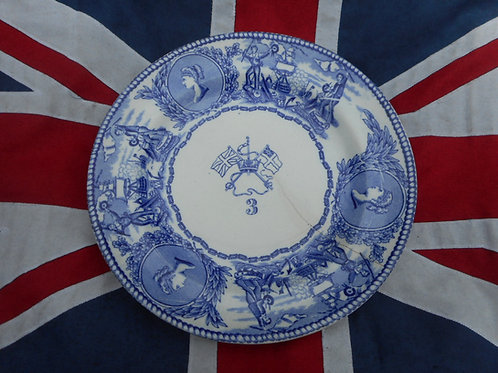 RN Mess plate, crossed flags, No.3