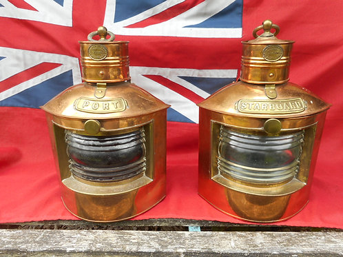 Pair of historic Port and Starboard lights