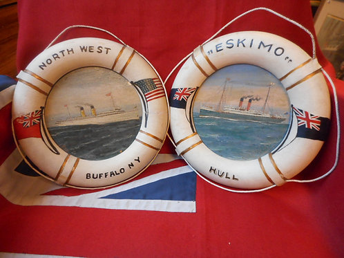 Pair of Merchant Navy painted liferings