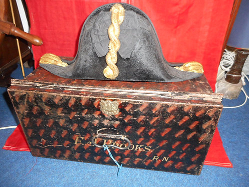 Gieves japanned hat box, 2nd WW.