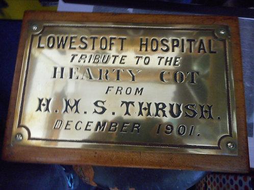 HMS Thrush wooden and brass box