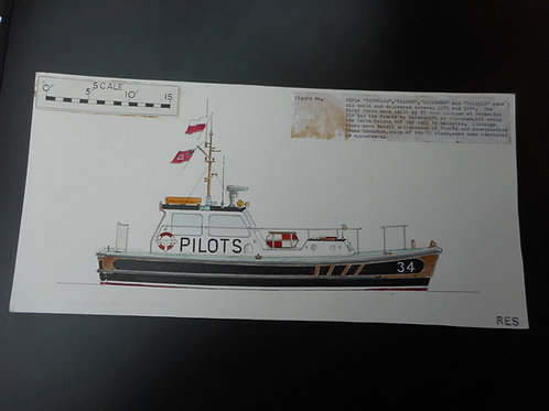 Original Trinity House drawing of THPLs Vanguard, Valour, Vagabond and Valerie