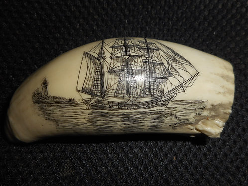 No. 328 - Ship and Lighthouse, signed