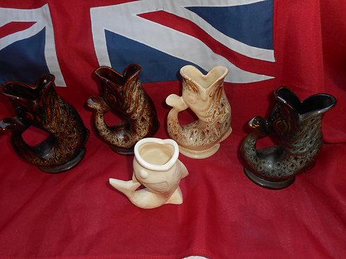 Fosters pottery fish gurgle jugs