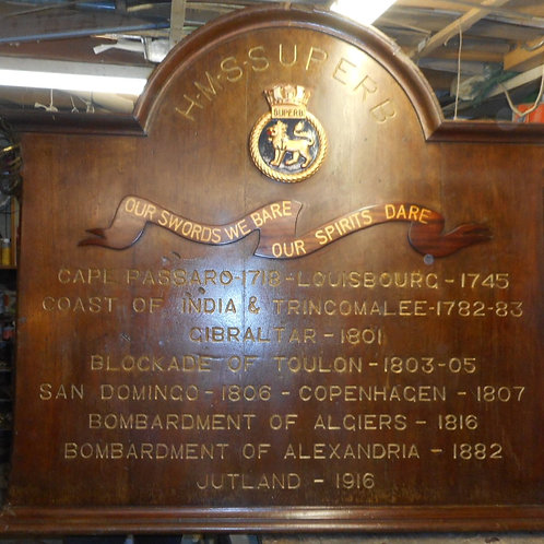 HMS Superb battle honours board