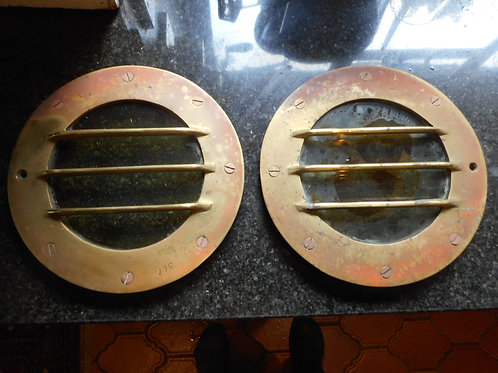 Pair of brass deck windows