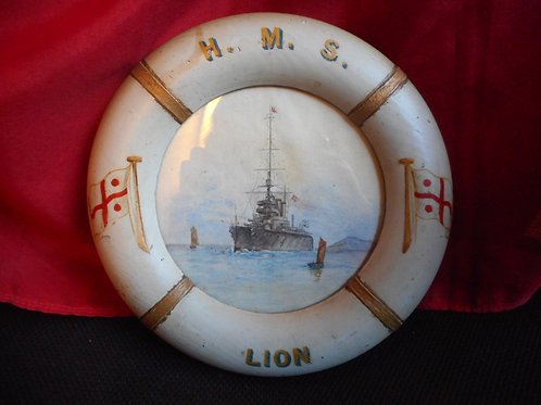 HMS Lion painted life ring