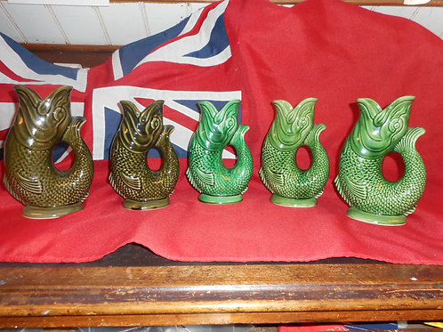 Medium Dartmouth gurgle fish jugs in green