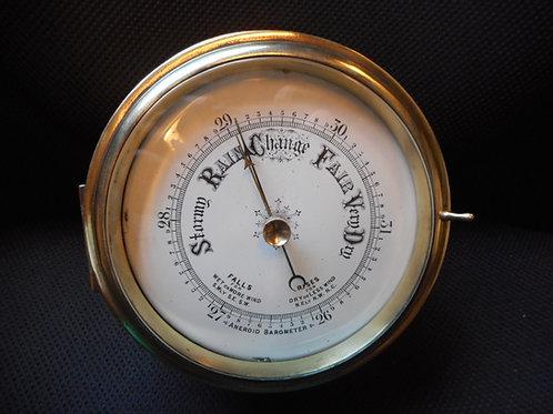 Brass aneroid barometer