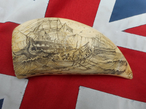 No.382 - Sperm whale tooth, whaling scene