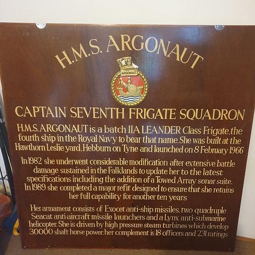 HMS Argonaut lifering and info board