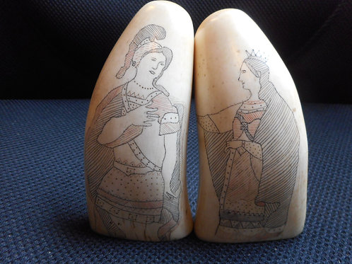 No.264 & 265 - Pair of period lady scrimshaw