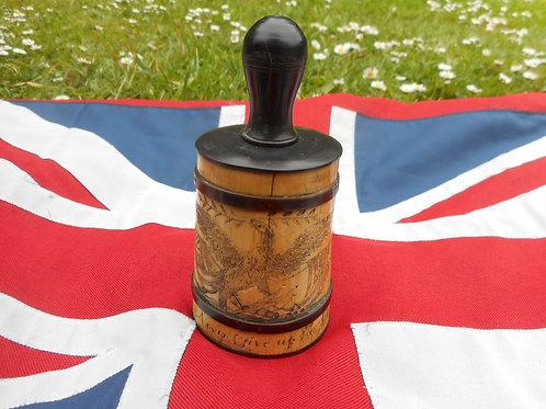 Scrimshaw gunpowder pot