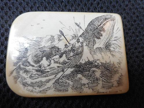 No.224 Inuit whaling scene scrimshaw tablet