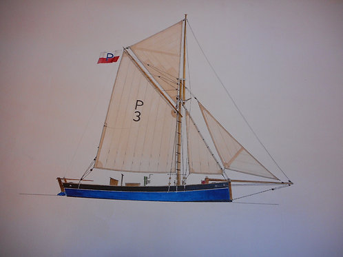 Original Trinity House drawing of the lugger 'Comet'