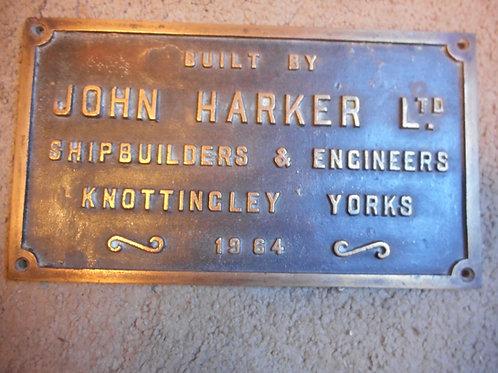 Shipbuilders plate - John Harker LTD