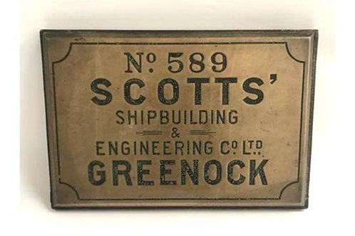 Brass Shipbuilders plaque - HMS Trooper