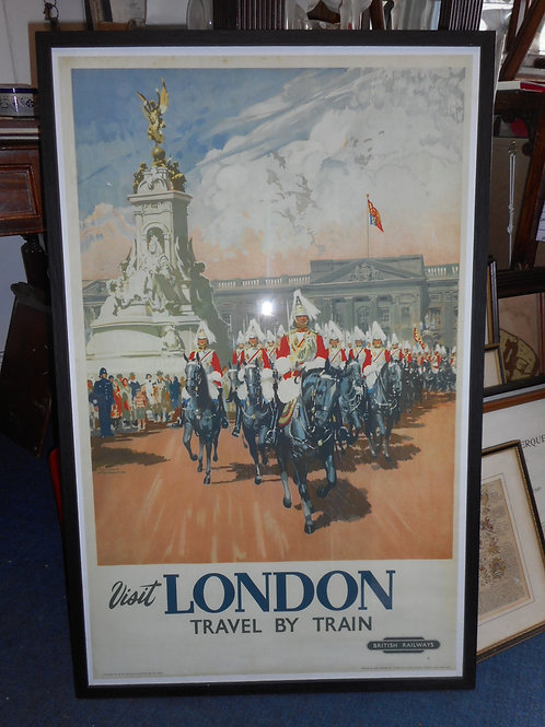 Large London by Train poster framed and glazed