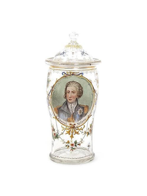 Nelson enamelled glass jar