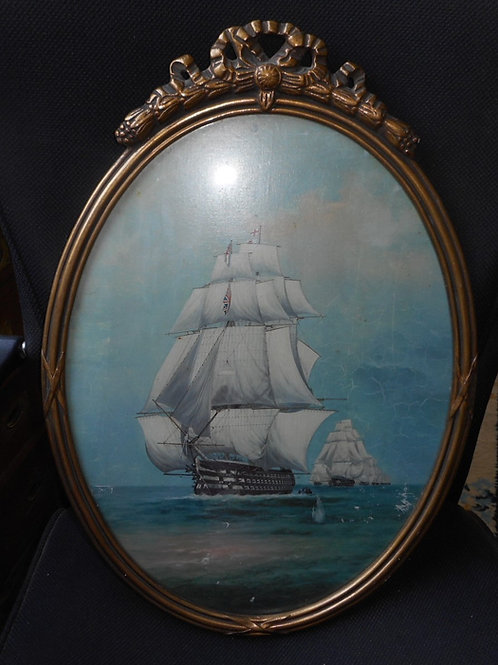 Oval ship oil painting