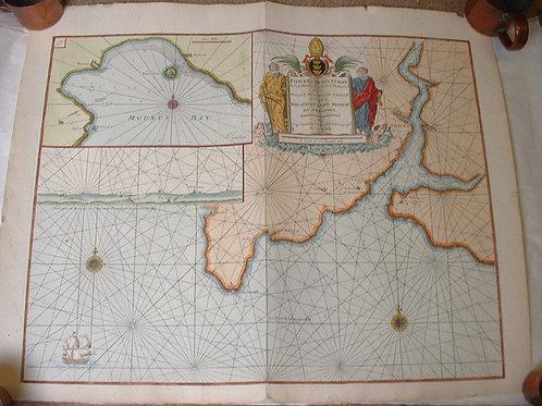 Hand coloured Sea Chart - Fowey