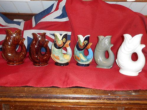 Medium Dartmouth gurgle fish jug mixed colours