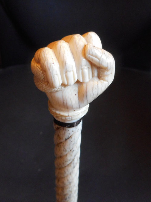 No.363 - Whalebone carved spiral walking cane