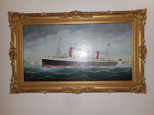 Oil painting of RMS Mauretania, signed.