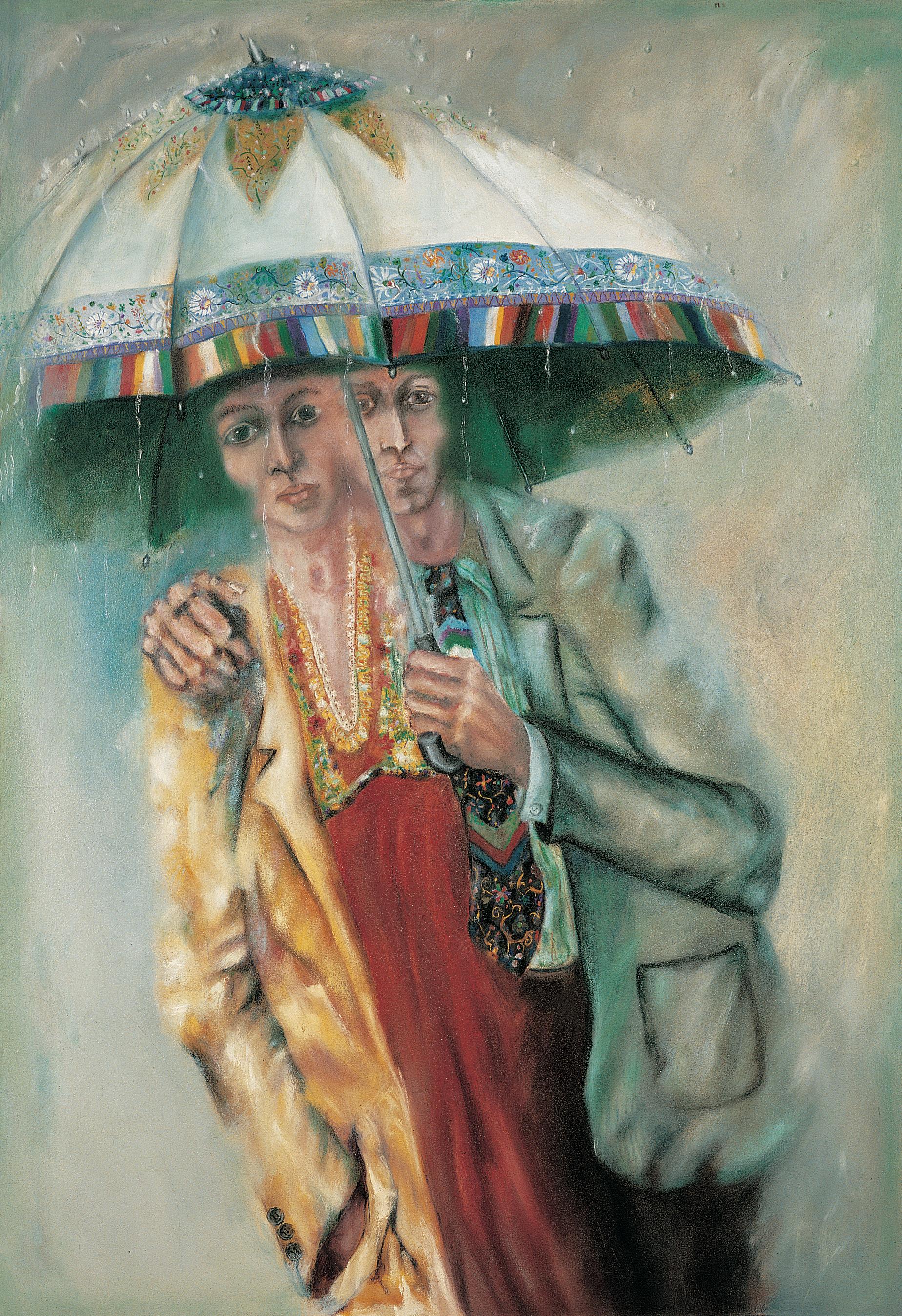 Paar mit Regenschirm, 1980