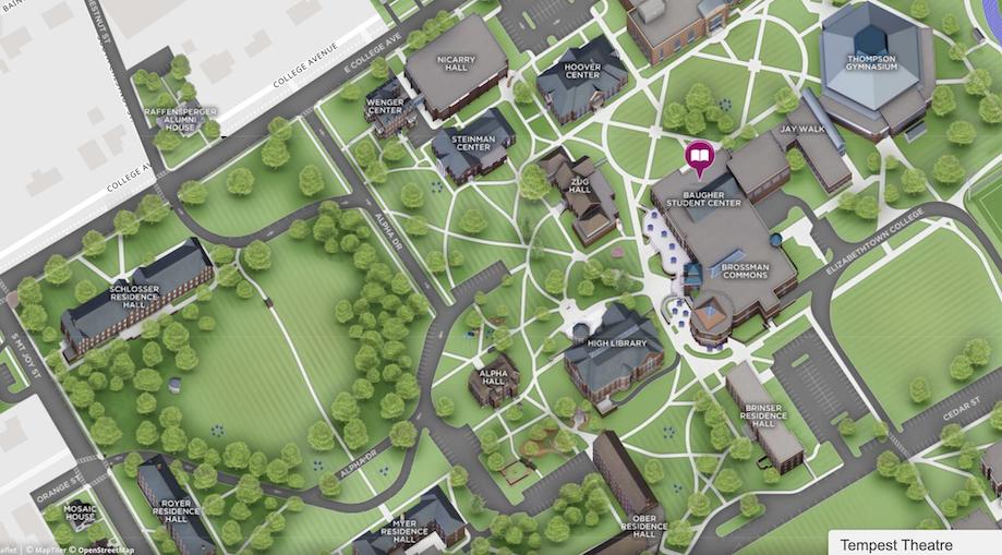 Elizabethtown College Campus Map with Tempest Theatre