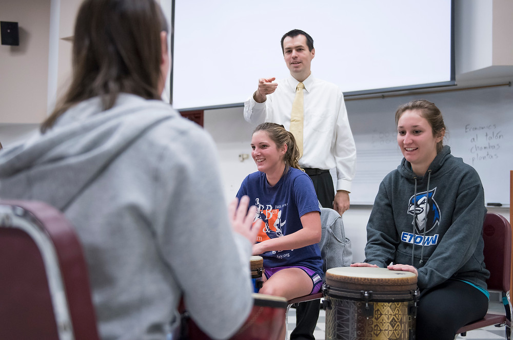 Dr. Shorner-Johnson teaching World Music Drumming