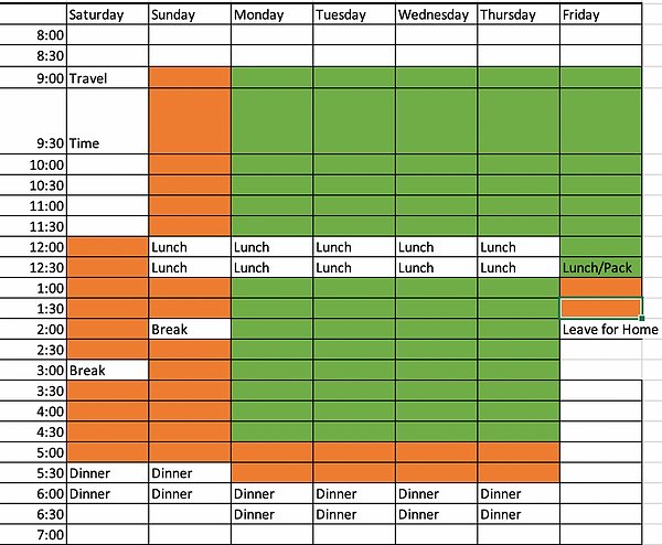 Schedule for the in-person week for the MME Program