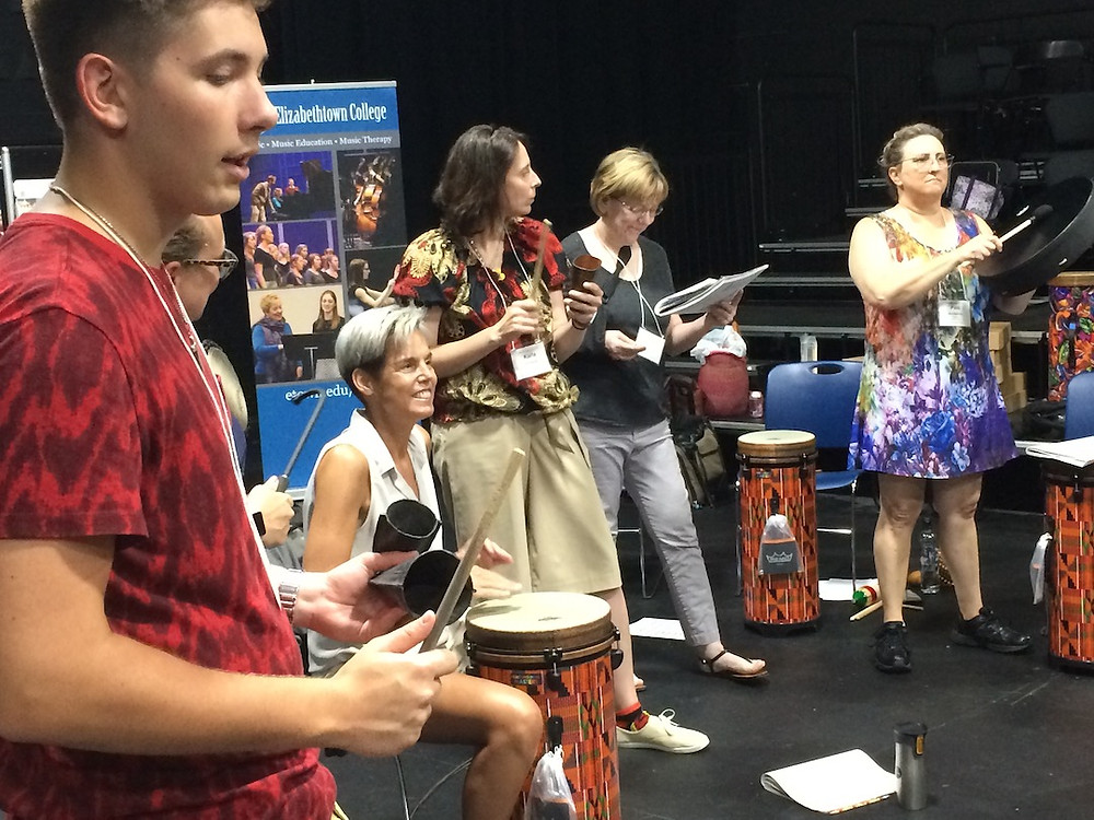 Participants in small ensemble World Music Drumming Practice