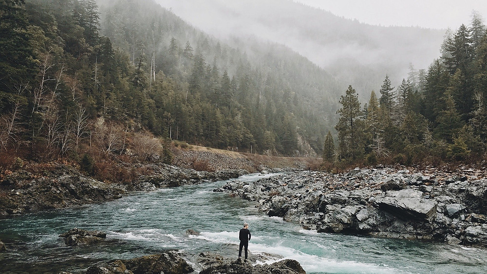man standing on edge of river with misty forest and mountains all around