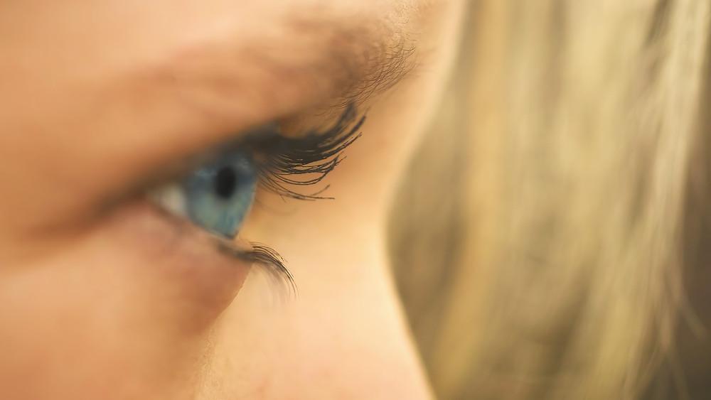 close up of an eye, human profile