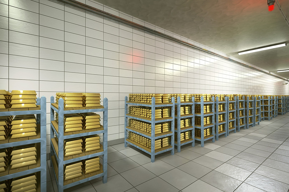 stacks of gold stored in fort knox