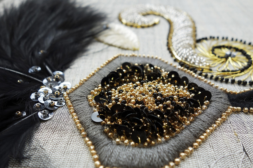 close-up view of intricate beaded and embroidered netting