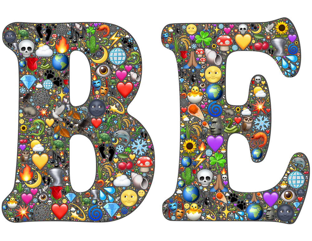 The letters B and E decorated with multiple small images such as plants, skulls, diamonds, hearts, mushrooms, snowflakes, etc.