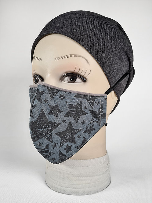 Grey Stars Designer Face Mask