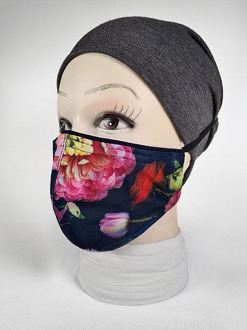 Navy Peonies Summer Face Mask