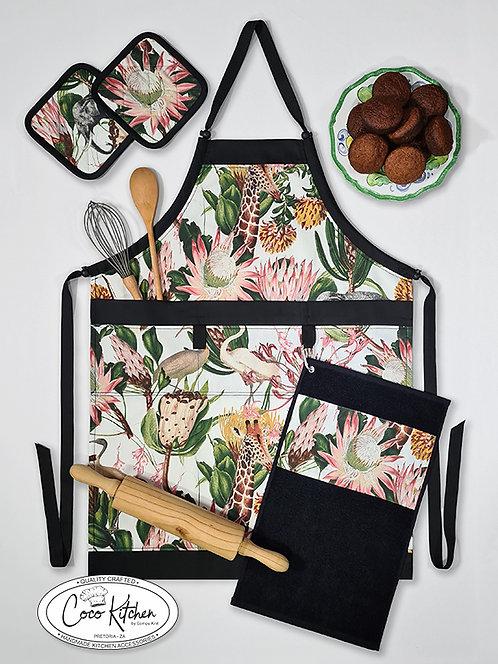 Wild Life Protea bib-style Apron 4 Piece Gift Set