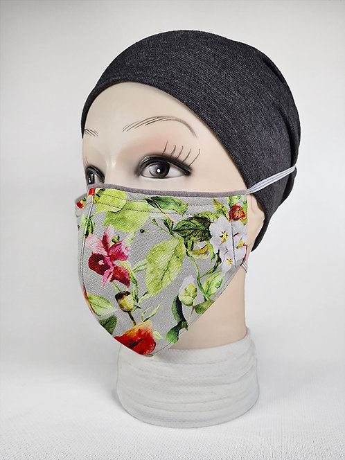 Grey Fuchsias Summer Face Mask