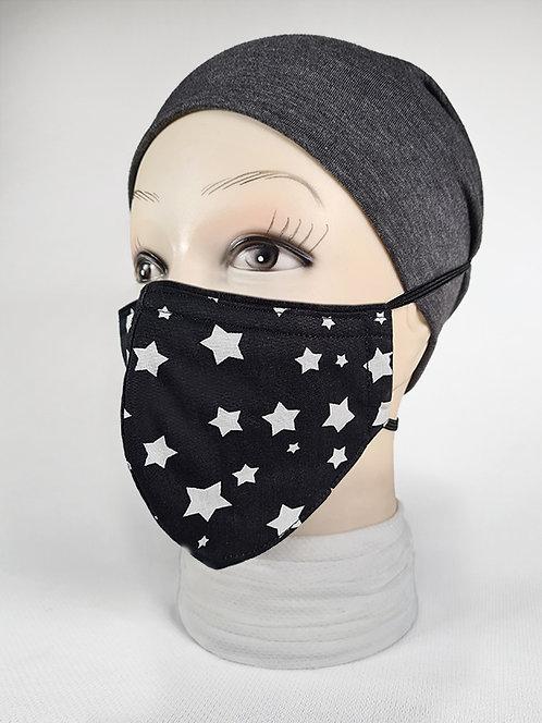 Black & White Stars Designer Face Mask