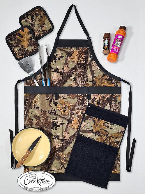 Bush Camo bib-style Apron 4 Piece Gift Set