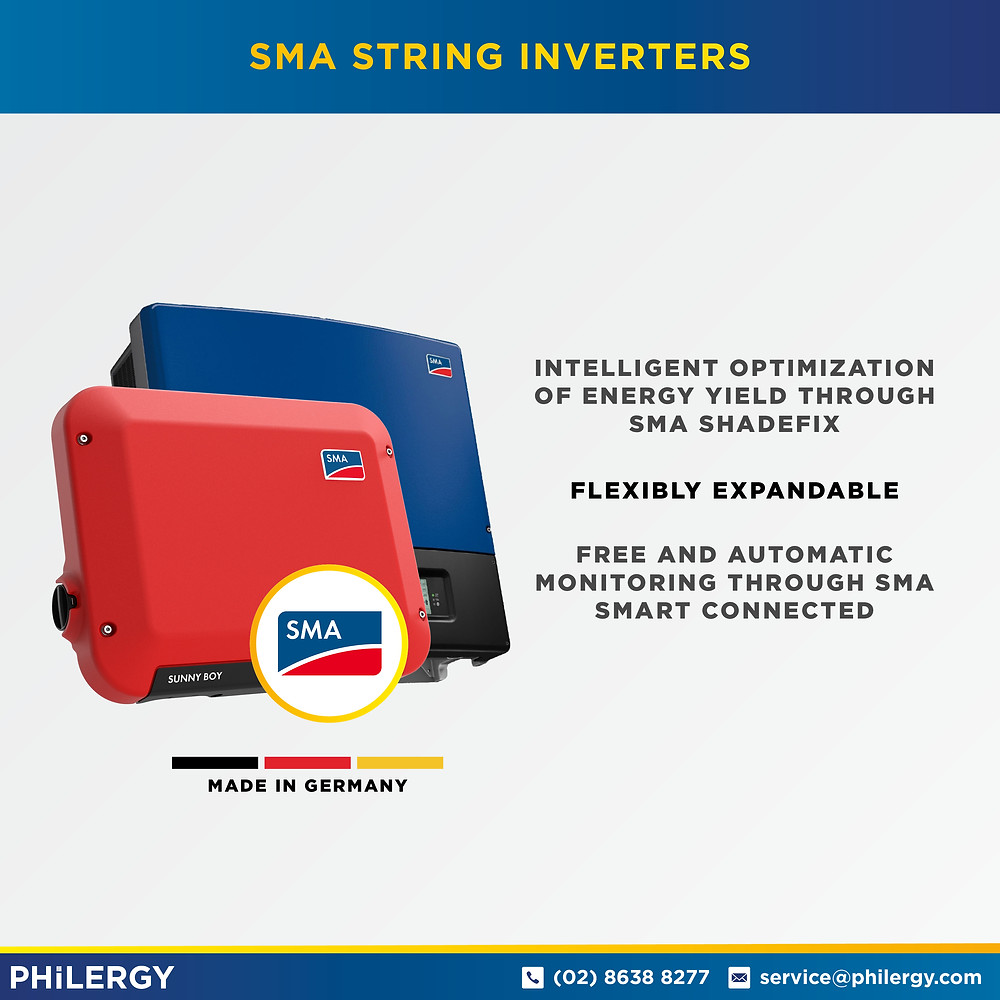 PHILERGY German Solar - SMA Sunny Boy Inverters -  High quality solar panel packages and installations for residential and commercial rooftops in the Philippines